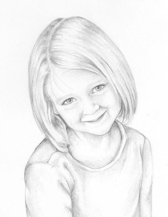 Custom Child Portrait Drawing 8x10 Pencil Portrait