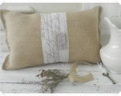 Burlap Pillow with Script and Ephemera graphic on White Cotton