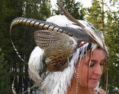 RESERVED FOR ELISE Magnificant Feather Headdress OOAK