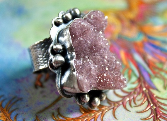 RESERVED Candy Is Dandy- Sterling Silver and Raspberry Drusy ring