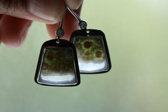 RESERVED Ocean Jasper Sterling Silver Drop Earrings... Anemone Garden