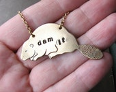 dam beaver necklace - hand stamped brass