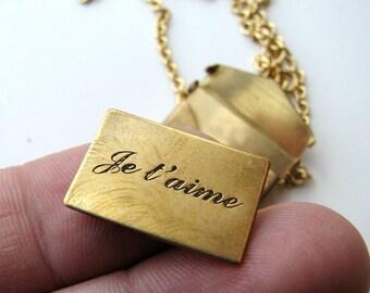 je t'aime love letter envelope necklace
