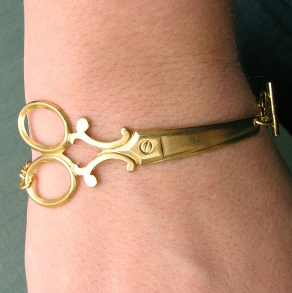 scissor bracelet - golden shears
