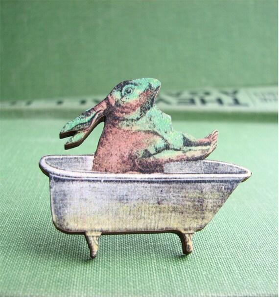 bathing bunny rabbit brooch pin