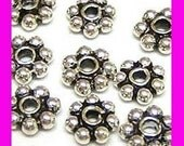 30x 5mm Daisy bali 925 Sterling Silver Spacers oxidized S15