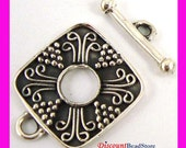2x 925 Stelring Silver Square Shape Toggle Clasp 14.5mm T25
