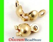 14k yellow gold filled crimp bead tip knot cover with 2 rings clamshell GF20