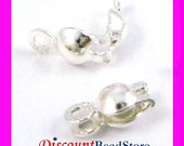 925 sterling silver crimp bead tip knot cover with 2 rings clam shell F98
