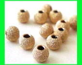 50pcs 3mm 14k Yellow gold filled stardust Star dust texture round beads spacer GS27
