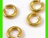 3mm Vermeil 24k gold  open jump rings 50pcs VR08