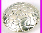 """Sterling Silver Round flat coin Bead with """"turtle shell snake skin"""" pattern 13mm 2 beads b88"""