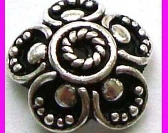 6pcs Ornate Bali Sterling silver Bead caps Beadcap 10mm x 3.5mm C30