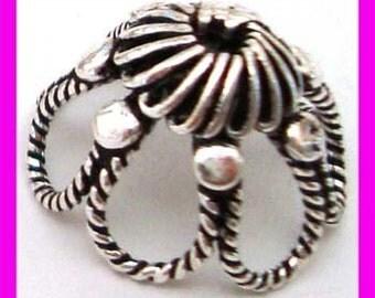 4pcs Large Bali Sterling silver Round Bead caps Beadcap 15mm x 10mm C28