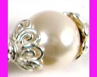 20 small Bright solid 925 Sterling Silver beadcaps bead cap 6mm C01