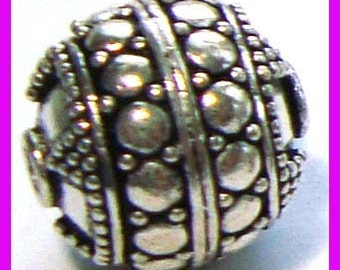 Sterling Silver Round Ornate Bead 13.5mm B99