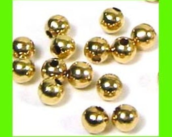 3mm 14k yellow gold filled seamless round shiny plain bead spacers GS03