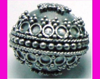 large Sterling Silver Round Ornate Bead 18mm B94