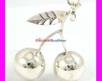 """Sterling Silver Bali Harmony Cherry Pendant with 30"""" 1.5mm bead Necklace hm45"""