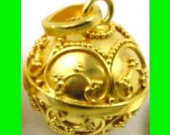 24k gold plated sterling silver Ornate mexican bola pregnancy keepsake Charm pendant baby charm hv01