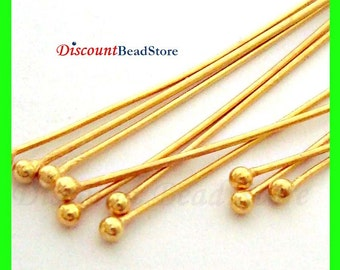 100x  24 gauge headpins round ball dot 24k gold plated sterling silver head pin VF25