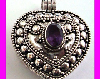 Heart Shaped Sterling Silver locket Pendant with Amethyst keep shake container pill picture holder with or without solid silver chain PL3