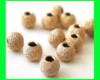50pcs 3mm 14k Yellow gold filled stardust Star dust texture round beads spacer GS23