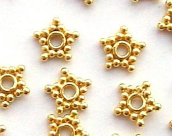50pcs  5mm Gold plated sterling silver mini star bead Spacers VS03