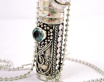 """Sterling silver Prayer Box with sky blue topaz (light blue) and 18"""" bead chain necklace PR4"""