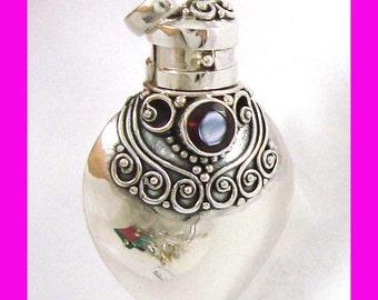 Sterling silver Heart Locket Prayer Box bottle Pendant with garnet January Birthstone PR8