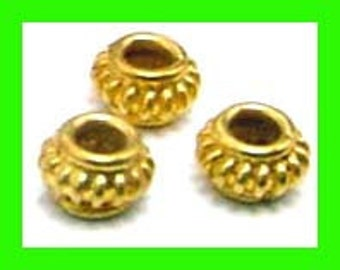 16 small 24k gold plated sterling silverl rondelle bali Spacers beads 5mm VS16