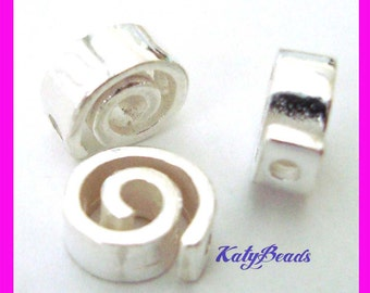 6pcs bright Sterling Silver spiral swirl bead spacer S99
