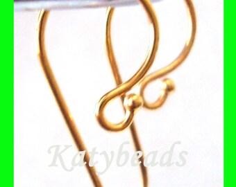 10pcs 24k gold Plated Sterling Silver fish hook earring ear wire EarWires  VE01