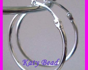 "1"" 25mm 925 Sterling Silver EUROWIRE hoop tube Earring Round Circle Ear Wire Earrings E66"