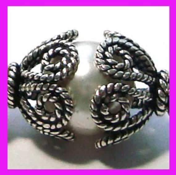4x Flower Twisted Wire Bali Sterling Silver bead caps 12mm x 7.5mm C40
