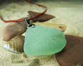 Sea Glass Necklace in Frosty Seafoam Green on Leather Cord A 20