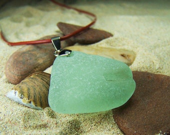 Sea Glass/Beach Glass Necklace in Frosty Seafoam Green on Leather Cord with Sterling Lobster Clasp A 20