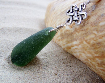 Sea Glass Necklace in Deep Emerald Green with Celtic Eternity Link and Fresh Water Pearl Accents on Sterling Silver Box Chain G 11