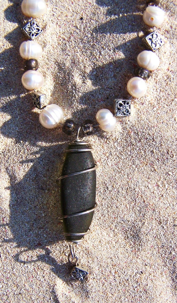 """Sea Glass Necklace with Fresh Water Pearls and Caged """"Black""""  Sea Glass - """"See the Light"""" BL 02"""