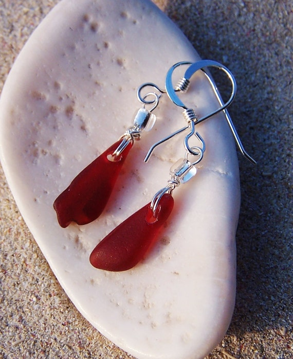Sea Glass Earrings - Rare Ruby Red Slivers
