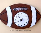 Football Clock - Hand Painted Wood, Scroll Saw, Customize to make it your own