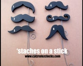 1 Wooden 'Stache on a stick- photography props -Hand Painted Wood, Scroll Saw, Customize to make it your own