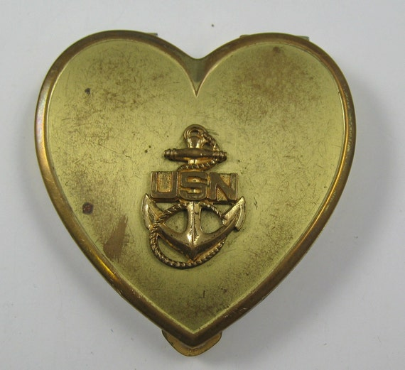 Vintage USN Sweetheart Compact WWII Gold Tone