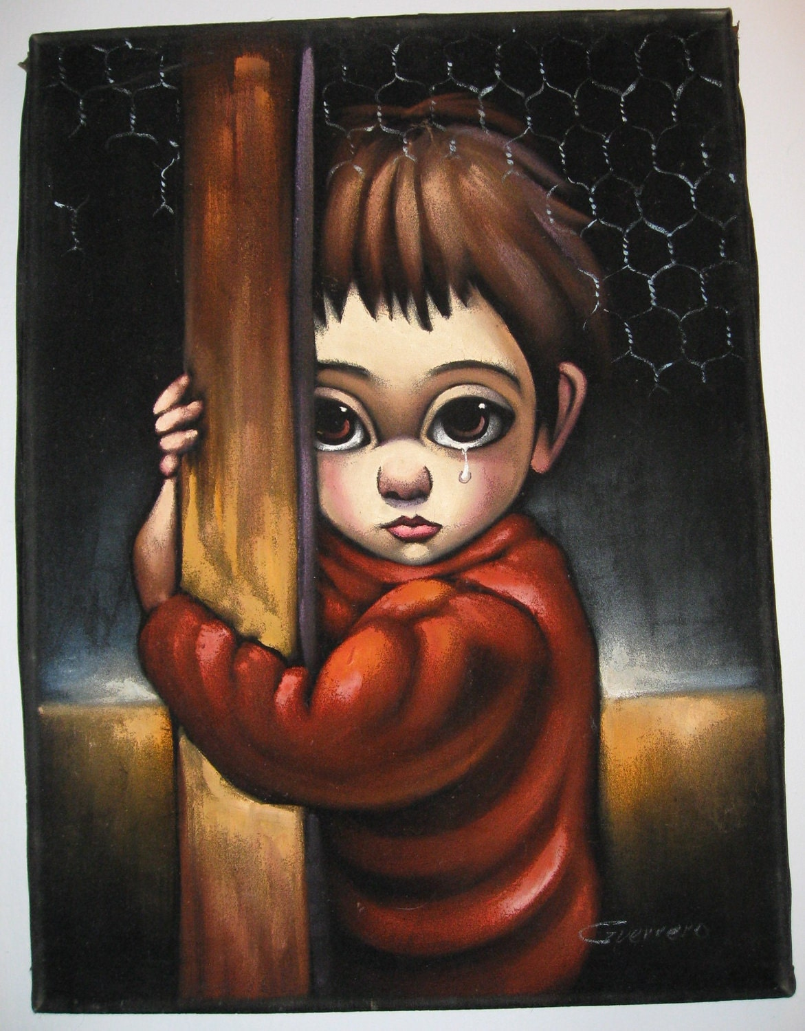 Vintage Big Eyed Boy Black Velvet Painting Signed Guerrero