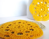 Crocheted coasters, lace applique, yellow, grey, ornaments for gift wrapping /set of 4/