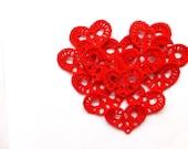 Red hearts crochet applique embellishment decoration small wedding favors, decorations /set of 12/