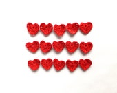 Crochet hearts - red hearts applique - Valentines day decorations - handmade wedding favors - tiny hearts for DIY projects - set of 15