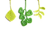 Autumn leaves applique, scrapbooking, embellishment crocheted spring green decorations /set of 3/