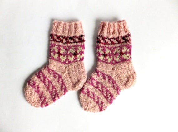 Knitted children socks pink patterned, gifts under 25