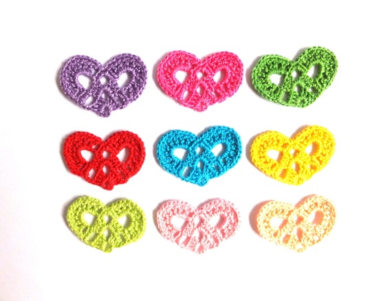 Crocheted hearts applique, embellishment, scrapbooking, wedding decorations, favors /set of 9/